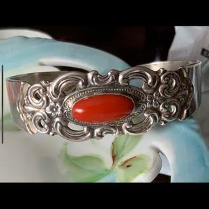 Towle Sterling Filigree Coral Cuff Bracelet 1970s